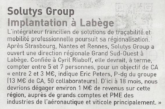 SOLUTYS Group dans les pages du Journal des Entreprises de Toulouse