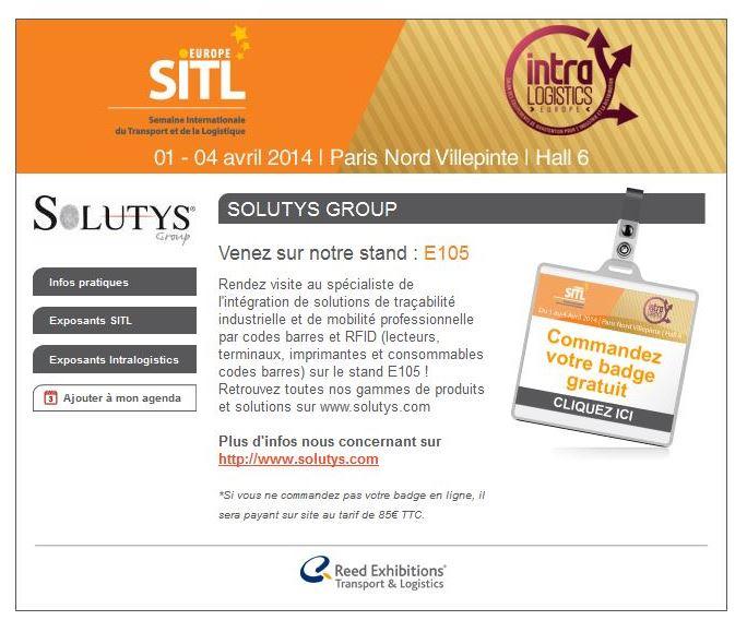 Invitation SITL 2014 - Rendez-nous visite sur le stand E105