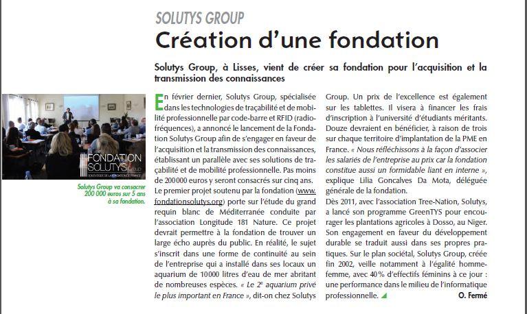 La Fondation SOLUTYS Group saluée par la CCI de l'Essonne