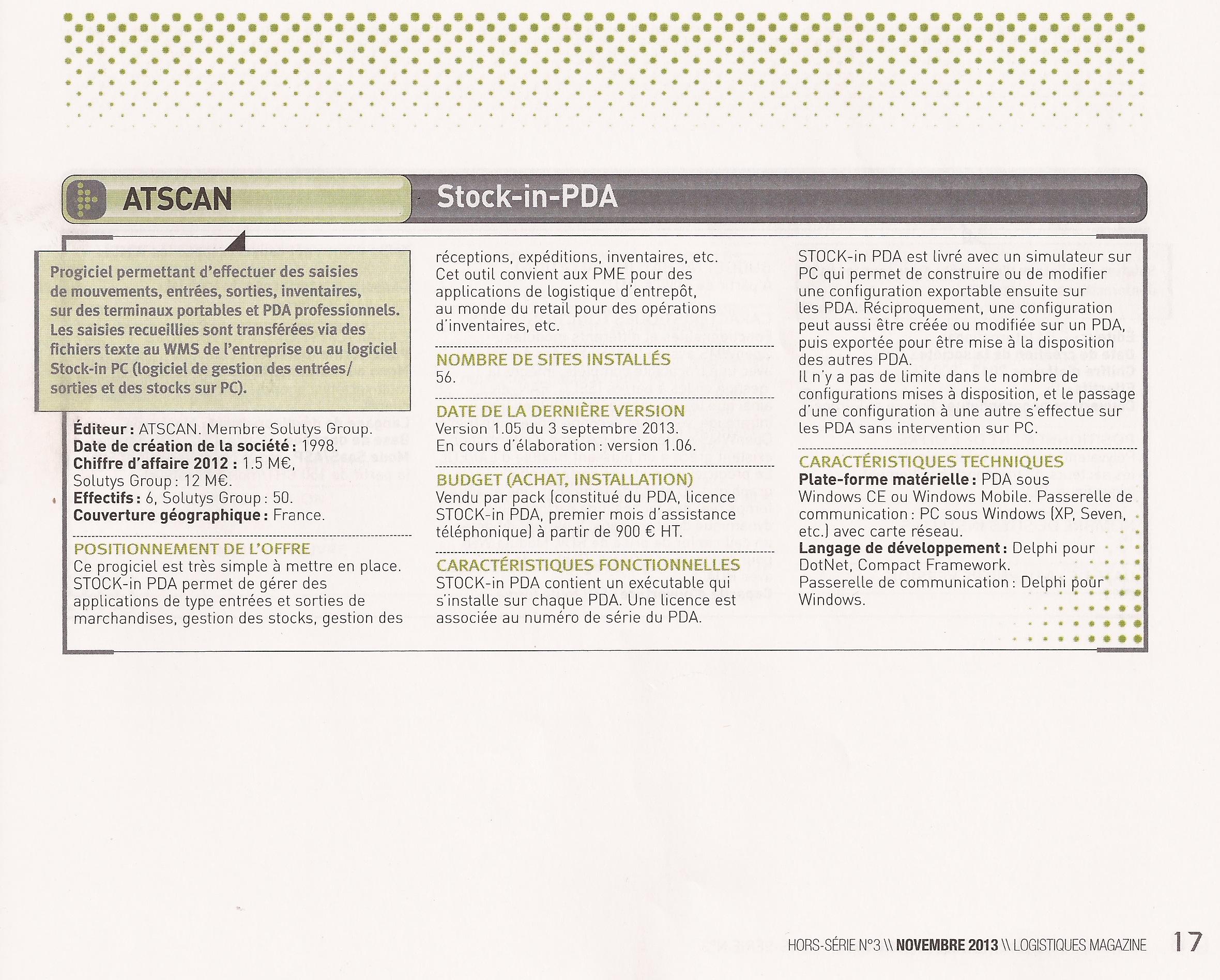 Logiciel Stock-in-PDA- Gestion de Stock - Atscan