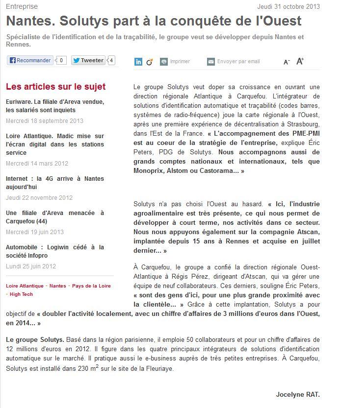 SOLUTYS Group dans Ouest France